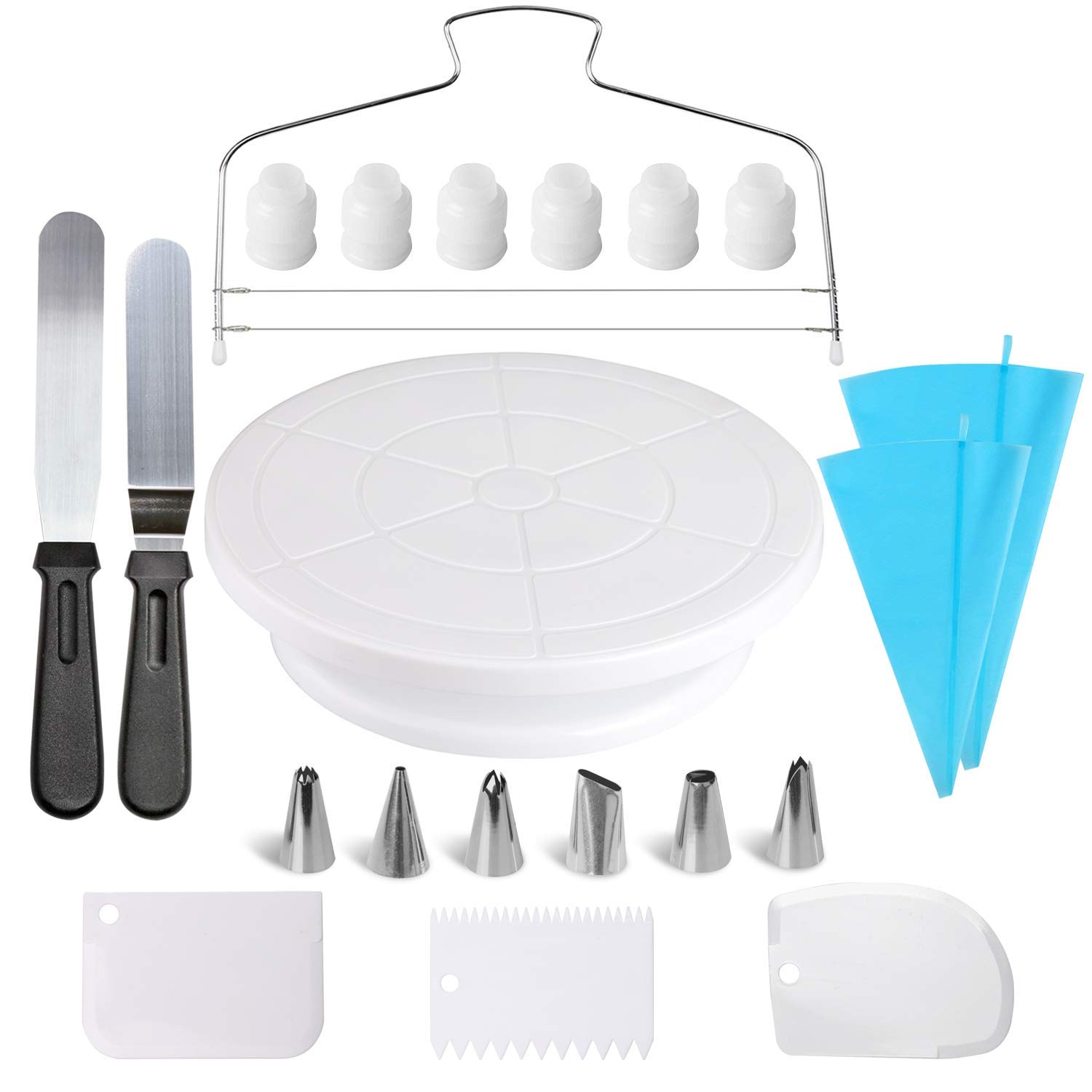 Cake Decorating Supplies,21pcs Cake Decorating Kit with Cake Rotating Turntable, Icing Spatulas,Cake Scrappers, Cake Cutter, Piping Nozzles,Pastry Bag,Piping Tip Couplers