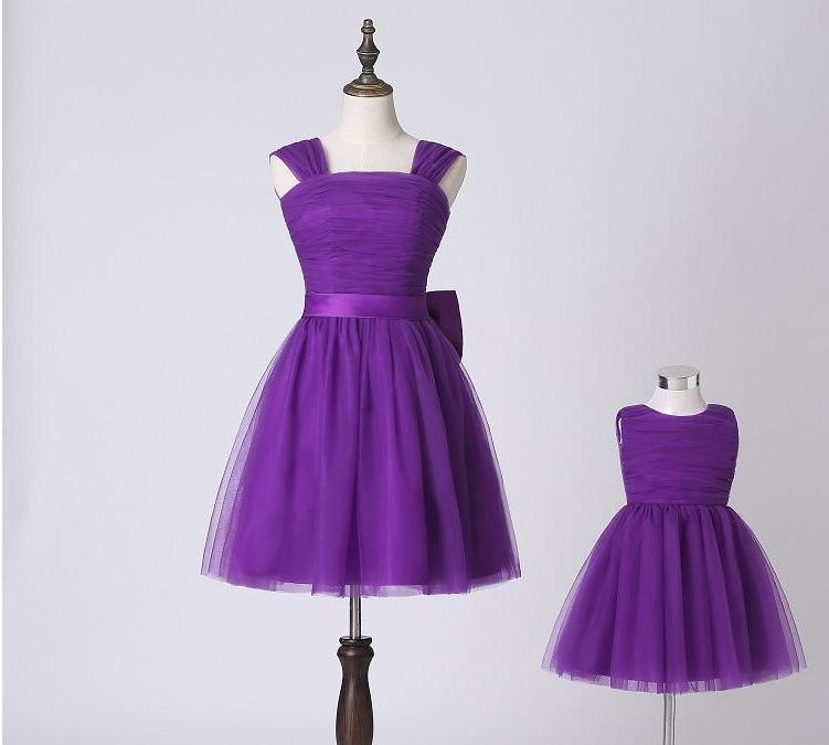 Elegant Purple Tulle Mom And Daughter Matching Party Dresses New Model Family Clothing Latest Design Simple 2018