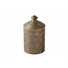 Wholesale Home Aromatic Soy Wax Candle In Ceramic Jar Genuine Gold Decal Decorated