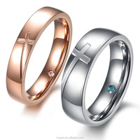 AliExpress selling rose gold cross diamond inlay puzzle inner ring on the ring couple rings European and American fashion
