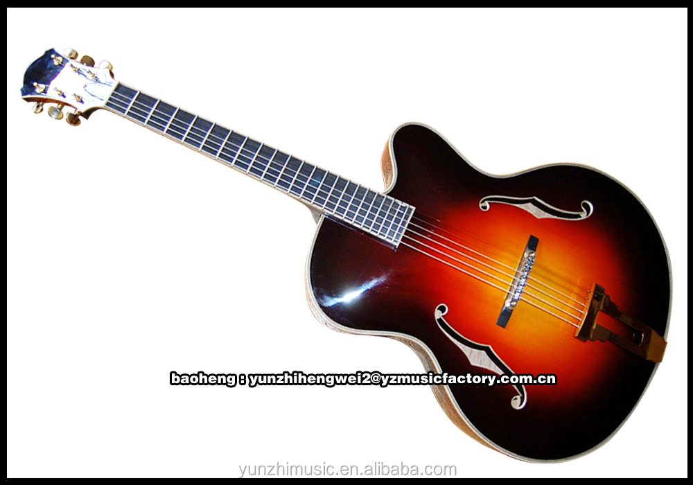 Fully handmade solid wood hollow body archtop electric Guitar