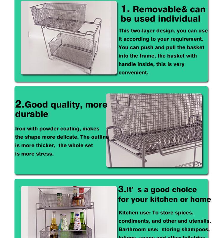 Two Tier Mesh Sliding Cabinet Basket,Organizer Drawer Storage Basket ...