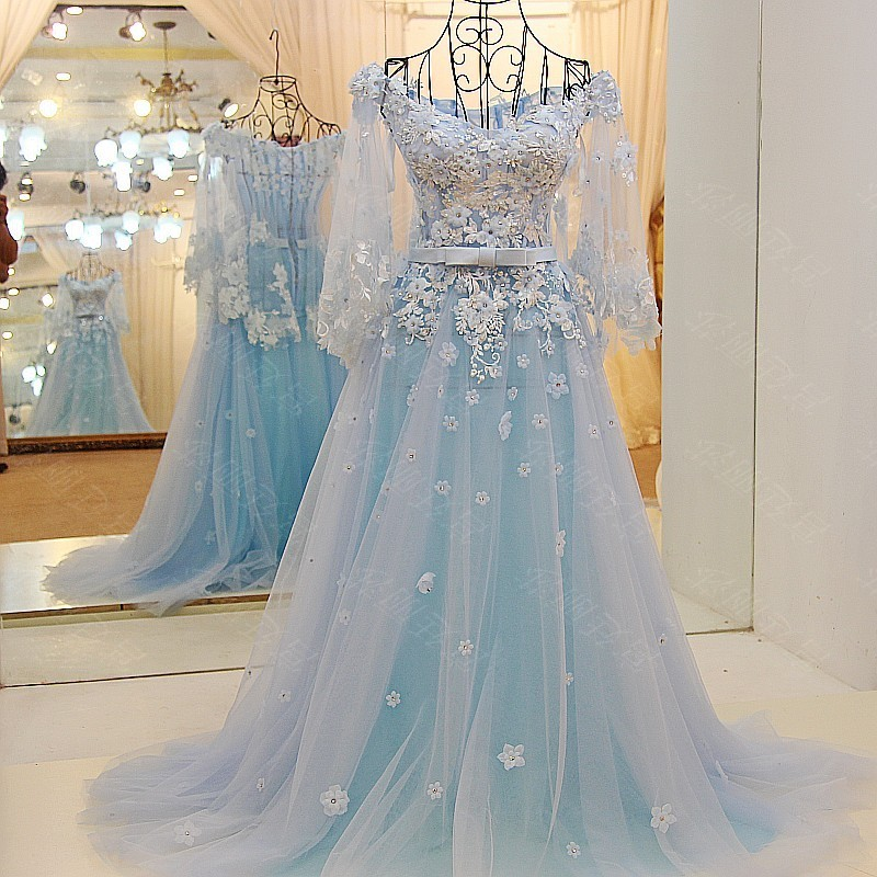 Ls65441 Blue Applique Pictures Of Evening Gown Formal Dresses For ...