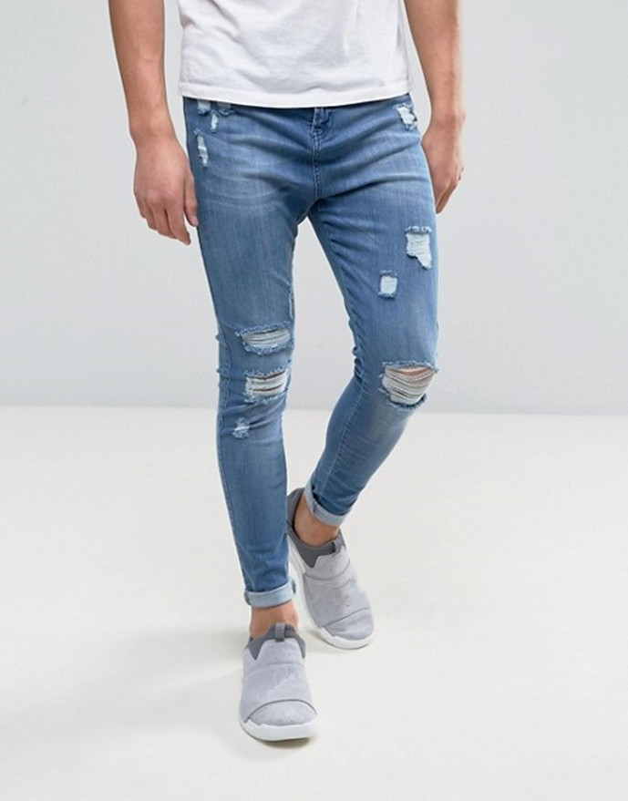 9e70b102b191 2019 Blue ripped distressed biker mens jeans 4% spandex 96% cotton ...