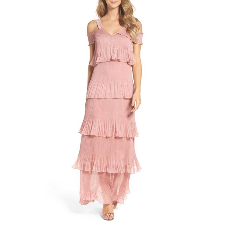 Women Elegant Wedding Sexy Party Night Dresses Pink Cold Shoulder ...