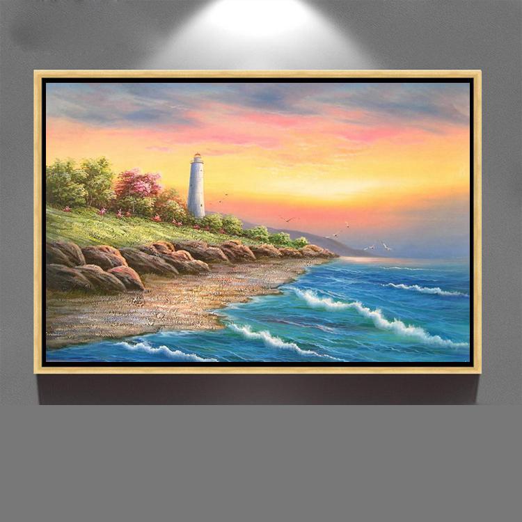 Decoración casera hermosa playa amanecer paisaje pared de la lona ...