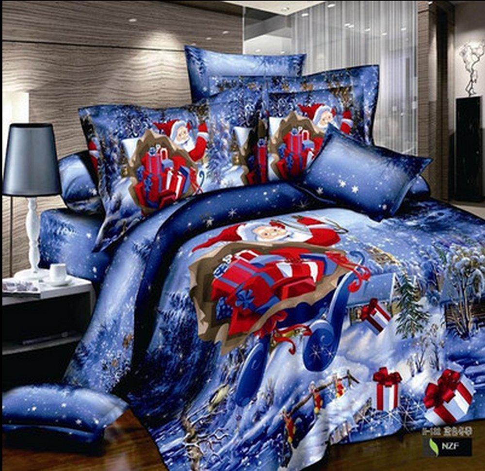 9ff4bc0e5ae Get Quotations · Home Textile Merry Christmas Blue Father Christmas Santa  Claus Prints 3d Bedding Set