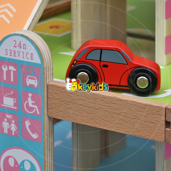 2017 wholesale girls wood parking garage toy new design kids wooden parking garage toy best children parking garage toy W04B050