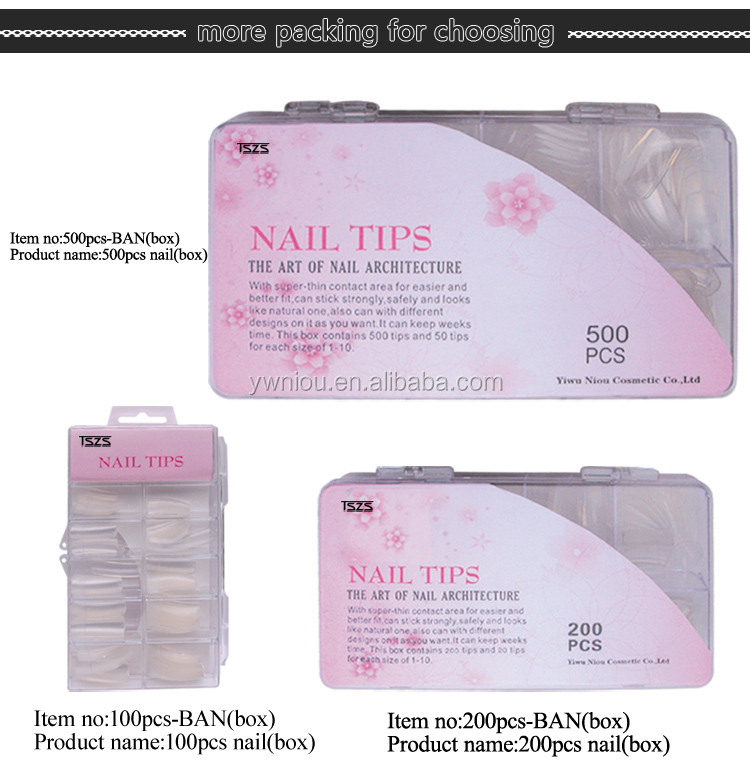 3D Design Sharp Nail Tips Clear Triangle French Fake Nails, View ...
