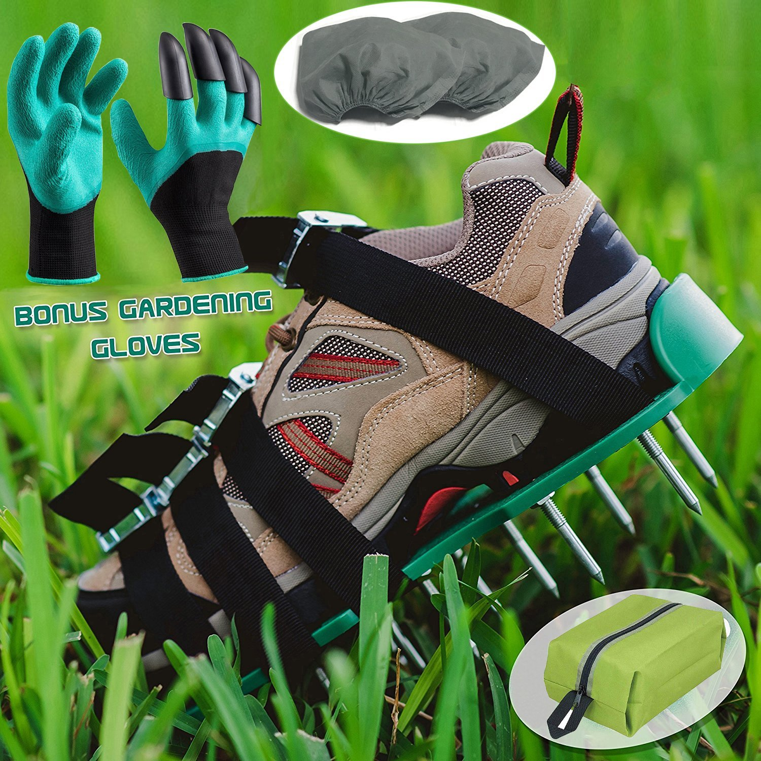 Get Quotations · Lawn Aerator Spiked Shoes,Aeration Spike Sandals With 4  Adjustable Heavy Duty Straps With Metal