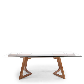 Transparent Glass Black Walnut Legs Expandable Table