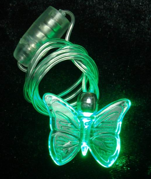 Led blinking necklace with butterfly shape