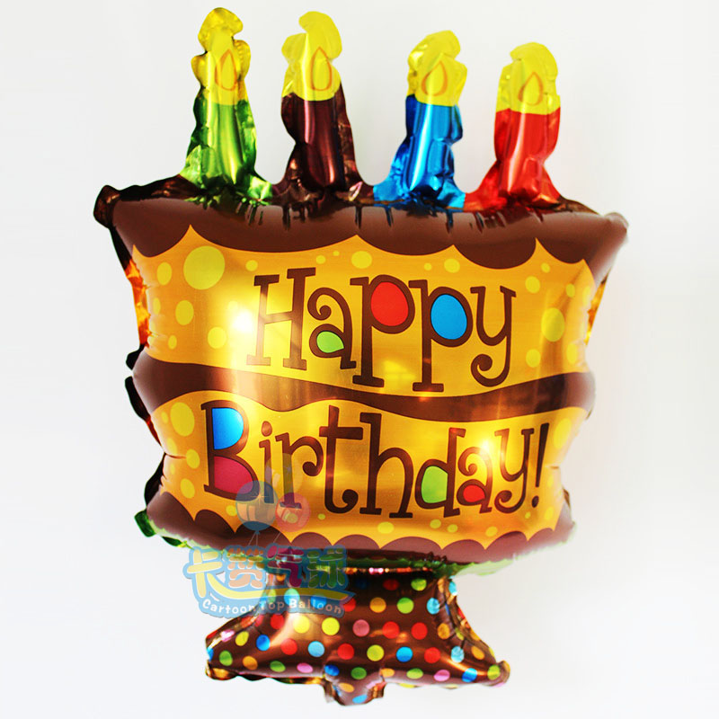 HOT 36*26cm Mini Globos Birthday Cake Foil Balloons Happy