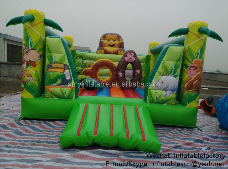 PK6201 safari park animal park children cartoon jump bouncy castle inflatable bounce