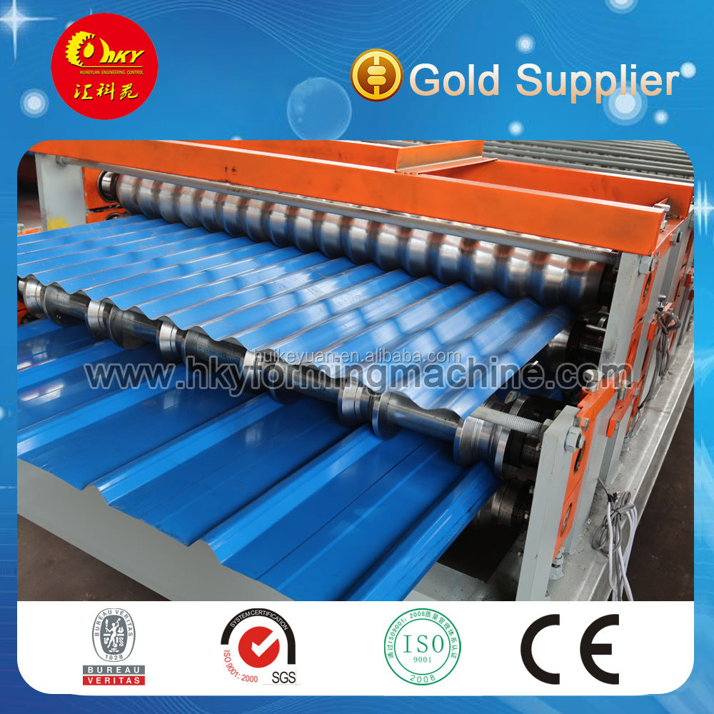 2017 New style double deck glazed corrugated and ibr roll forming machine