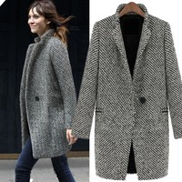 Onenweb Ladies Winter warm lapel trench wool cashmere coat women 19306