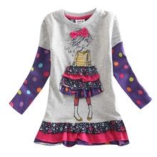 O vestido da menina meninas roupas nova crianças roupas crianças vestido de algodão padrão casual manga comprida vestidos para meninas bobo choses H3660