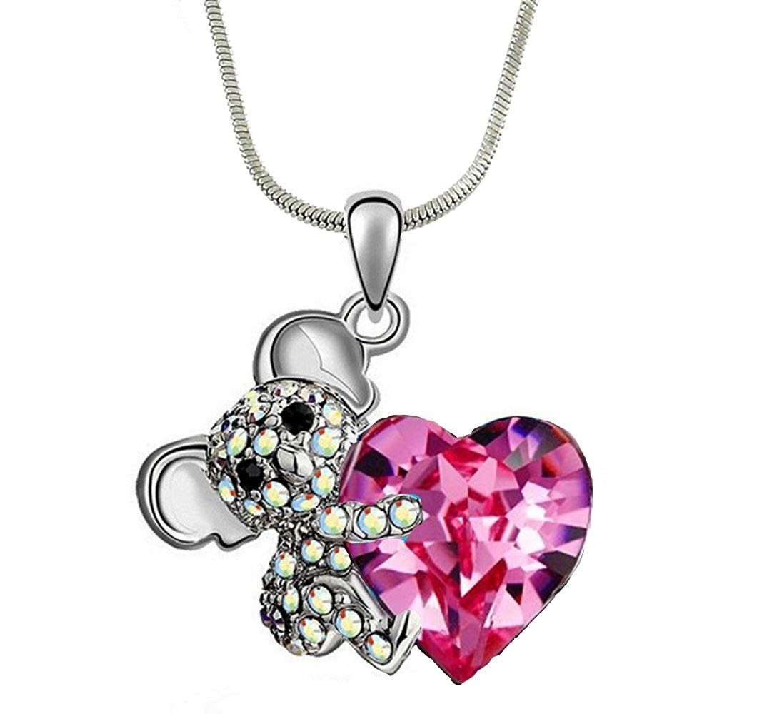 """DianaL Boutique Adorable Koala Teddy Bear and Pink Heart 3D Pendant Necklace 21"""" Chain"""