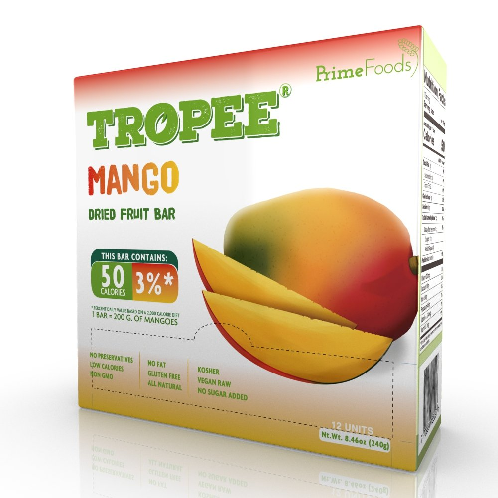 TROPEE Gluten Free Food Fruit Bars - Mango 20g, Box of 12. Healthy Snack Bars for the Vegan Diet which are Sugar Free, Kosher Food, Fruit Snacks. Perfect Vegan Gifts with Low Calorie Snacks