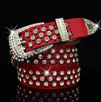 3.3cm width womens crystal pin buckle rhinestone belt, custom leather belt women