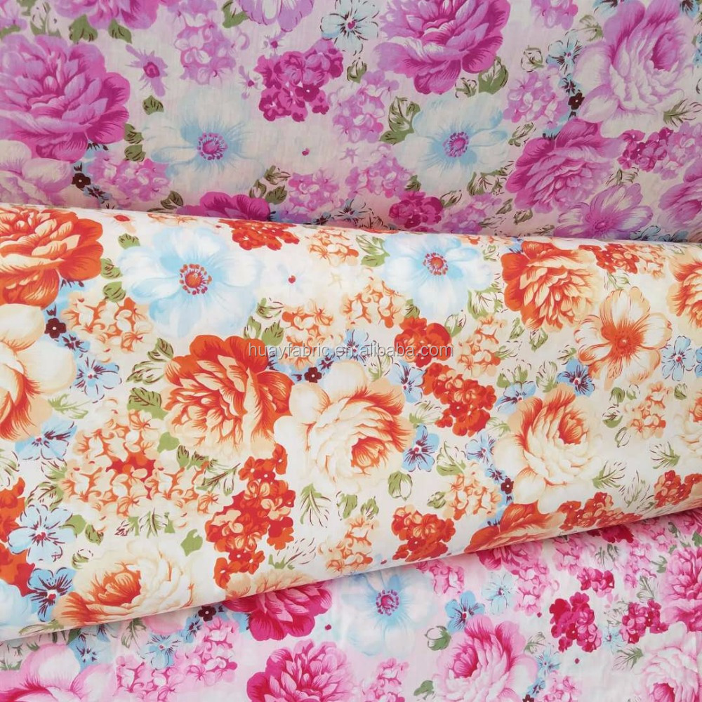 Newest 3 Color in stock big floral cotton printed fabric for bedsheet in roll HYC0081