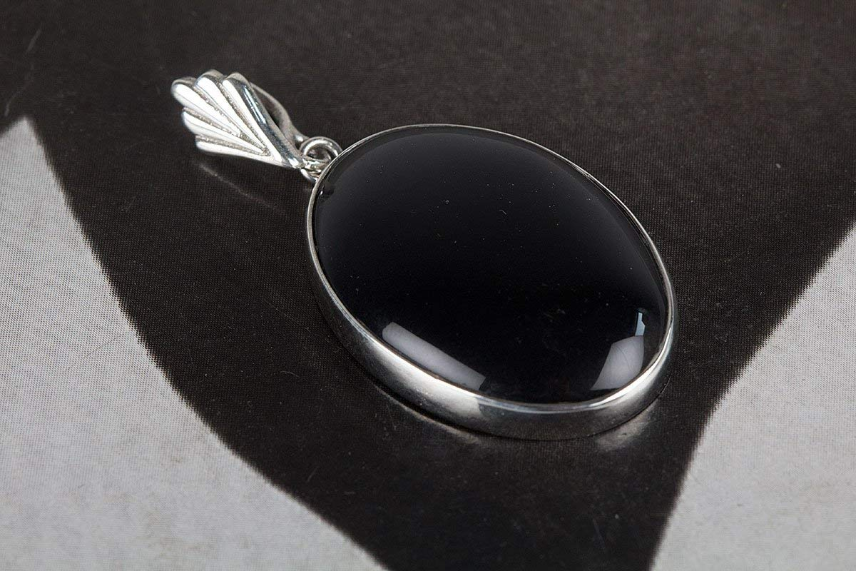 Black Onyx Pendant, 925 Sterling Silver, Black Color Pendant, Genuine Pendant, Authentic 925 Silver Pendant, Protection Pendant, Gift For Her, Strength Pendant, Simple Stone Pendant, Healing Pendant