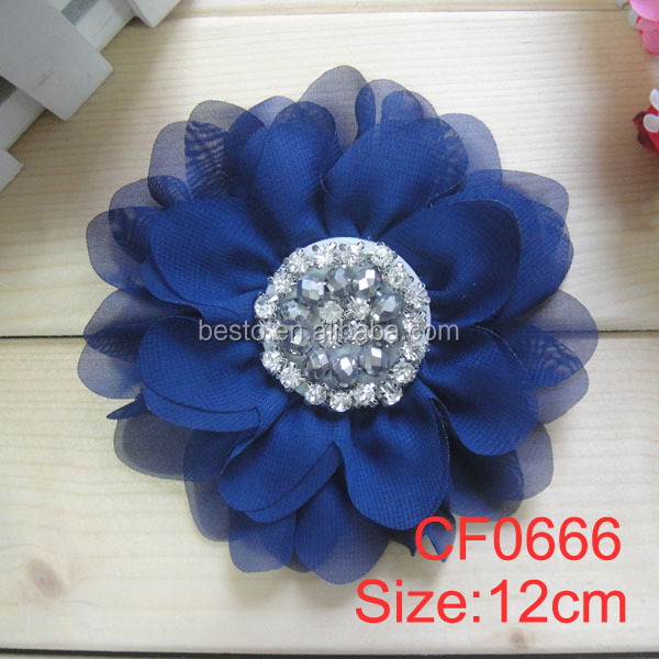 "4.5"" Vintage wholesale rhinestone pearl chiffon flower applique for baby dresses"