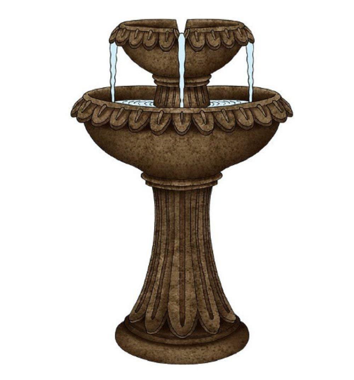 "MyEasyShopping Polyresin Pedestal Fountain, Brown, 24"" H,"