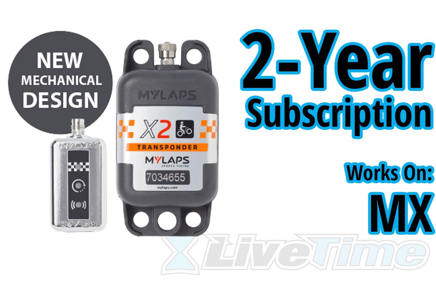 MyLaps X2 Transponder, Rechargeable, for MX (motocross), includes 2-Year Subscription