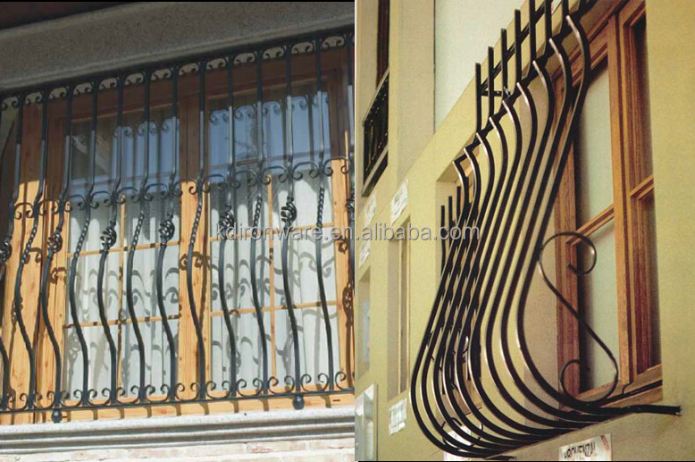 House window protective decorative wrought iron modern for Window design metal