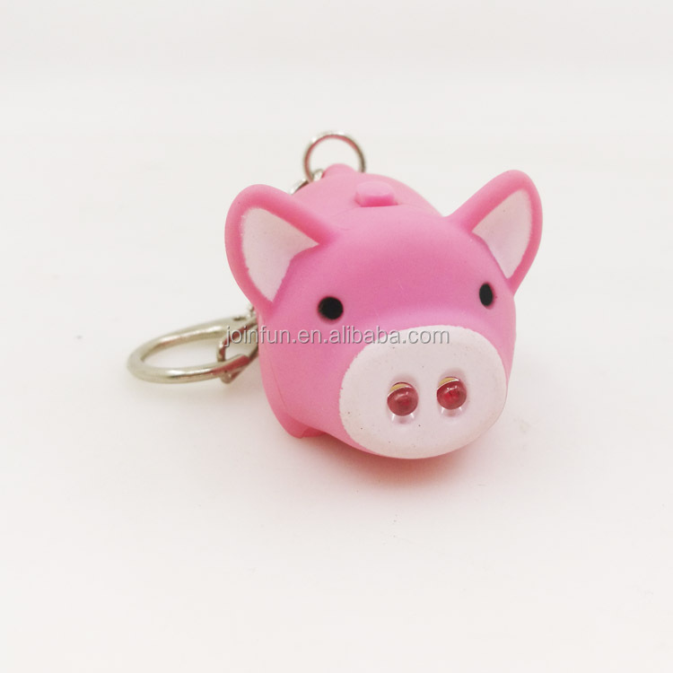 3D pig shape PVC led keychain,OEM cartoon PVC led keychain Torch ,Make your own led rechargeable torch wholesale