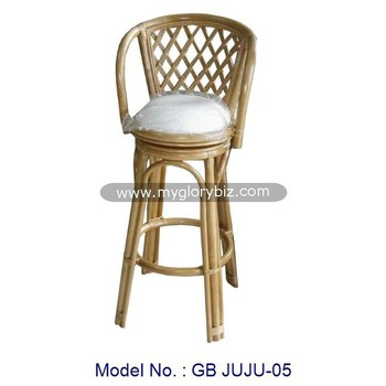 Rattan Swivel Bar Stool Armchair For Indoor Pub High Chair With Cushion Antique Furniture Natural Malaysia