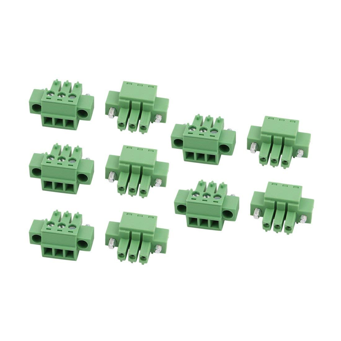 uxcell 10Pcs AC 300V 8A 3.81mm Pitch 3P Terminal Block Wire Connection for PCB Mounting
