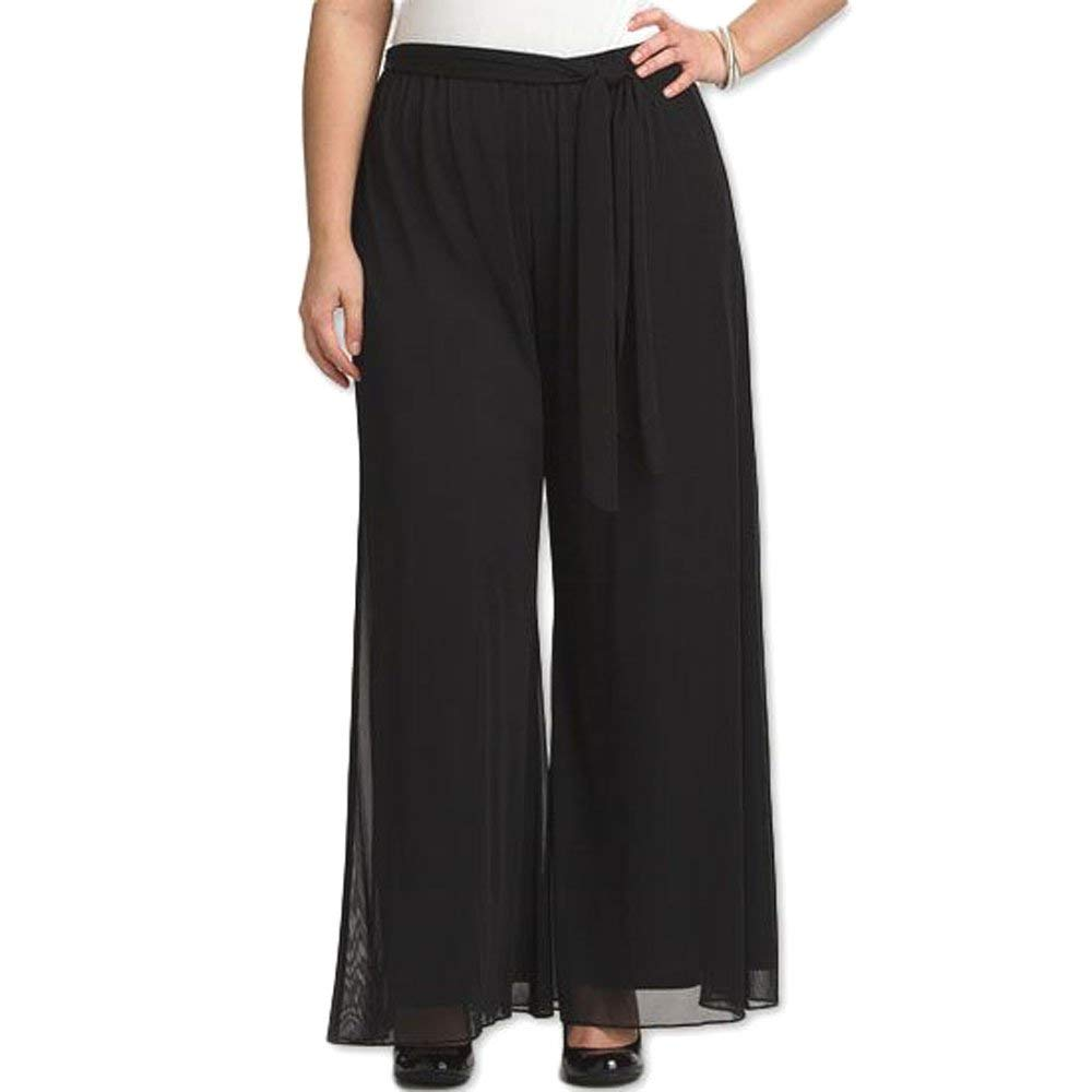 cad0bb217cca0 8006 - Plus Size Tummy Control Waistband Wide Legged Palazzo Pants Black