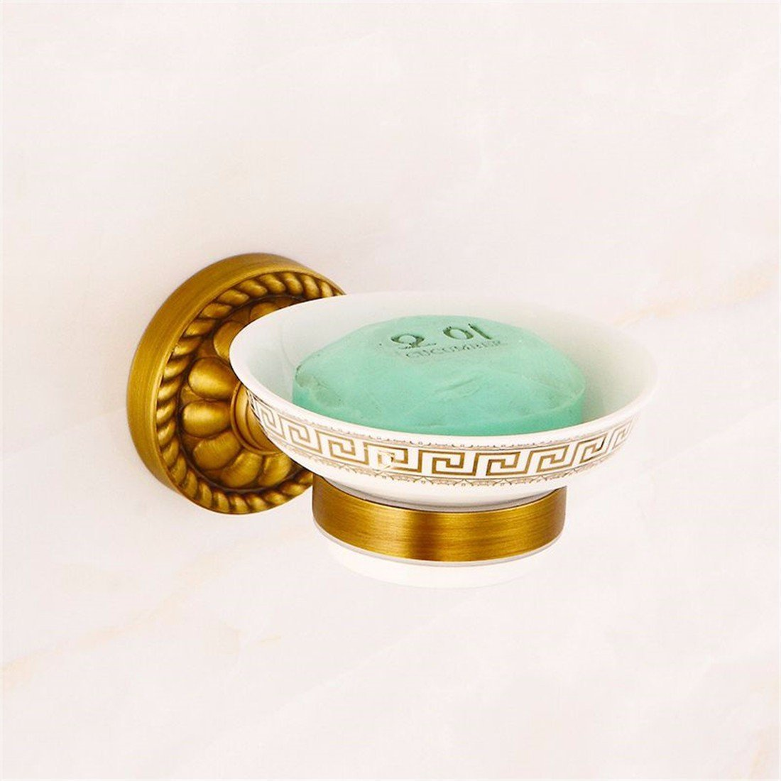 LAONA Euro-copper antique copper-colored carved round base mount kit in the Bathroom Towel Ring, Soap Dish