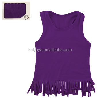 Boutique Girls Clothing Children Purple Clothes Solid Color Sleeveless Toddler Ruffle Shirt Baby Girls Shirt