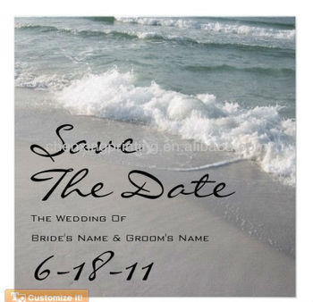 Beach Wedding Save The Date Ocean Waves Sand Announcements