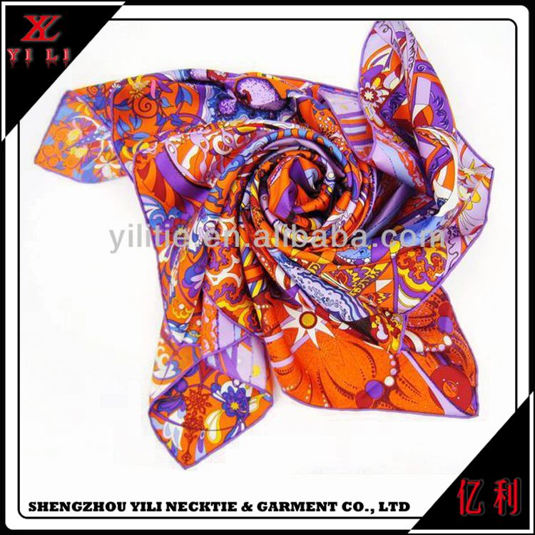 Good quality women custom hand painted silk scarf solid color