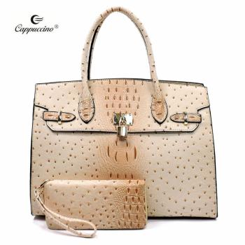 c0fff8270a Wholesale China factory cheap price bag Ostrich Croc Padlock 2-in-1 lady  handbag
