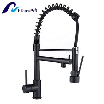 Stretchable single handle spring pull out kitchen faucet