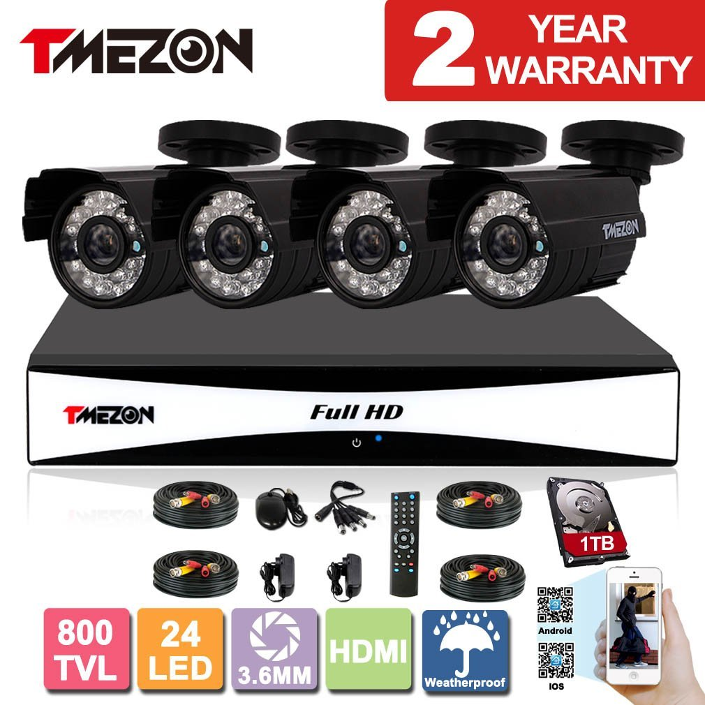 TMEZON 8CH 960H HDMI DVR Kits P2P Recorder 4x 800TVL Cameras Waterproof CCTV Surveillance Security System 3G Remote Mobile Access iPhone Android View 1TB HDD