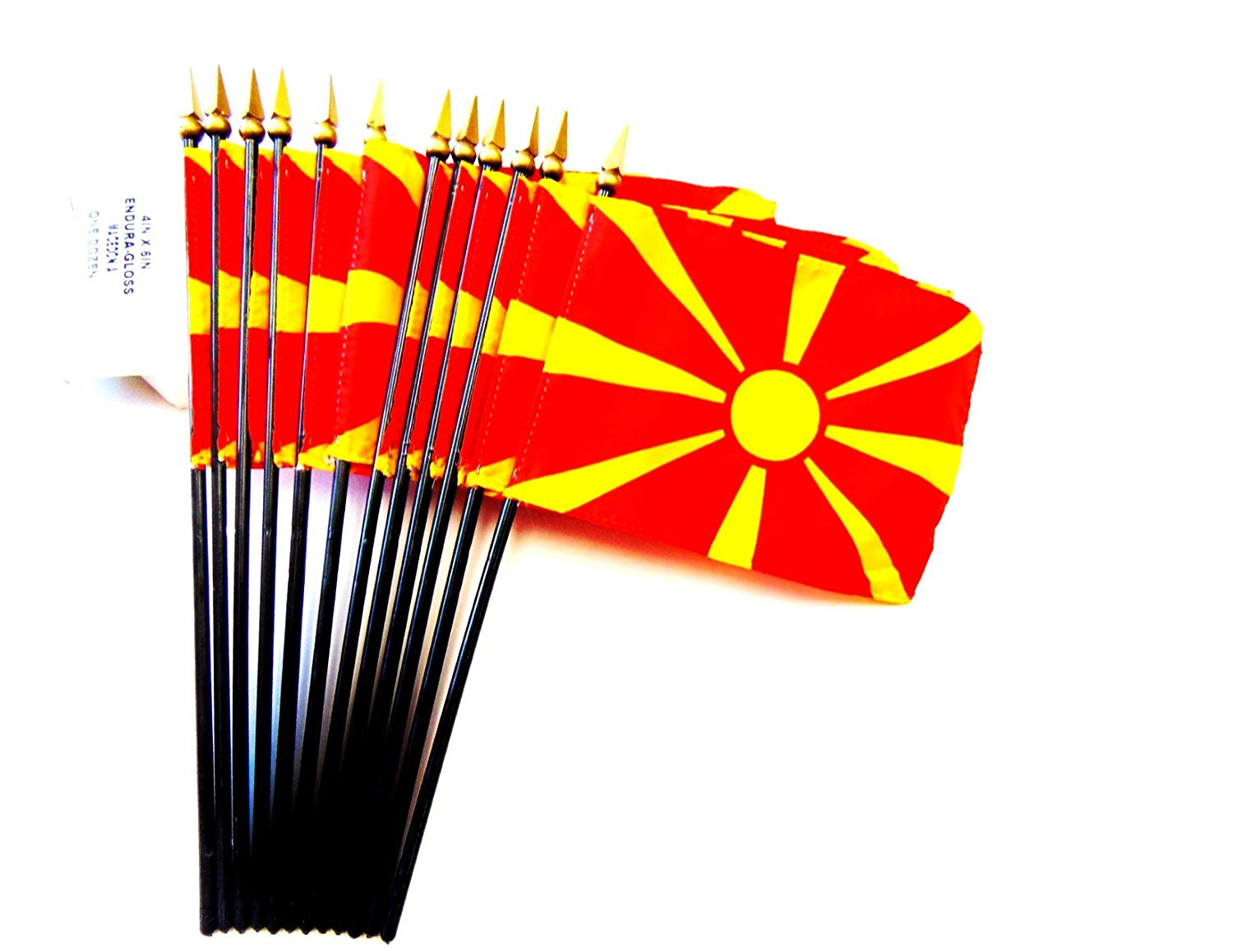 "MADE IN USA!! Box of 12 Macedonia 4""x6"" Miniature Desk & Table Flags; 12 American Made Small Mini Macedonian Flags in a Custom Made Cardboard Box Specifically Made for These Flags"