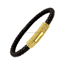 2016 Jewelry Trends 925 Sterling Silver Or Brass Mens Leather Bracelet