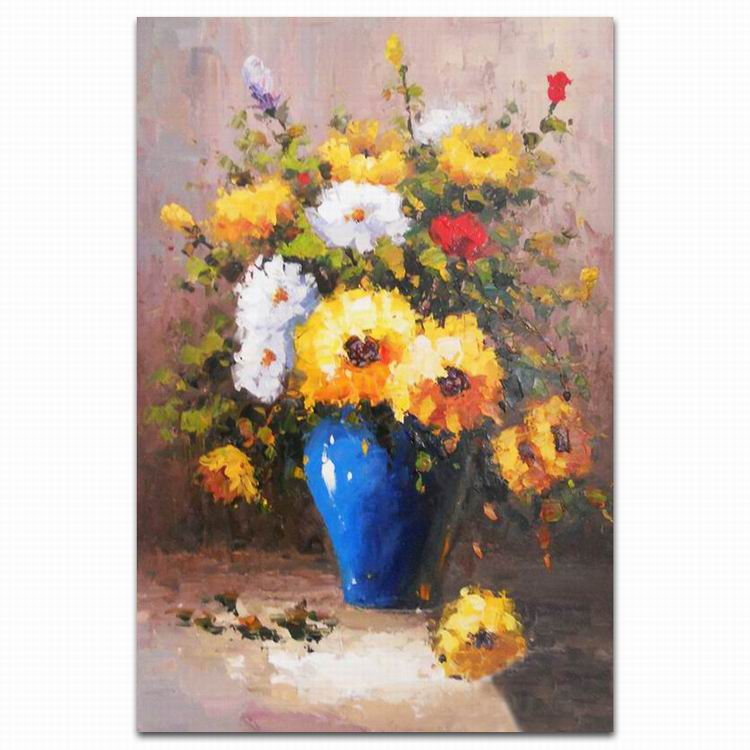 simple traditional canvas wall mounted flower oil painting of wall art