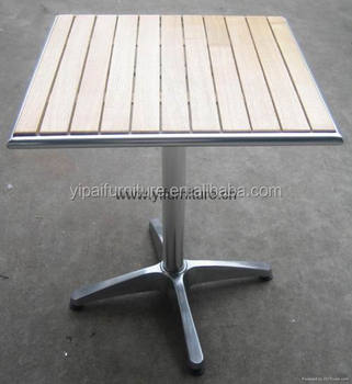 Made In China Aluminium Willow Wood Table For Teak Or Coffee Shop - Teak and aluminium outdoor table