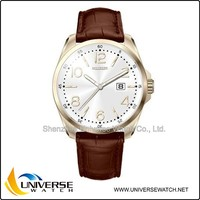 King quartz simple leisure watch with genuine leather strap