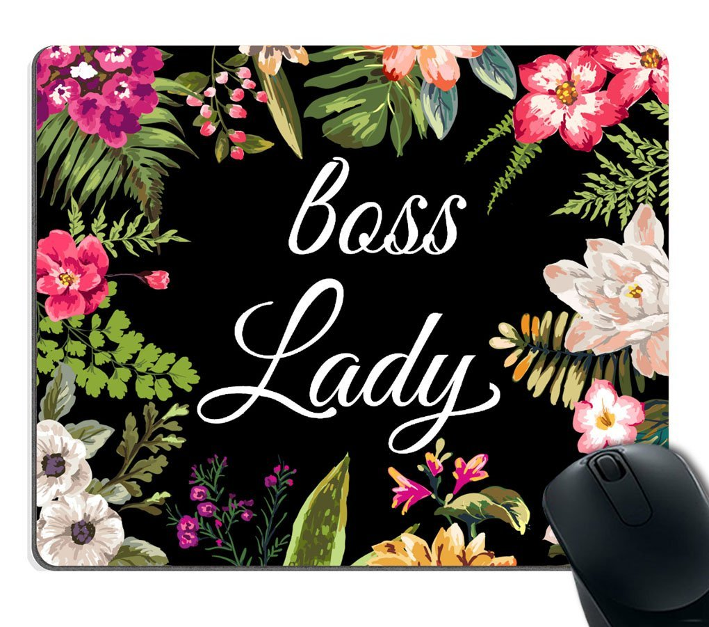 Smooffly Gaming Mouse Pad Custom,Boss Lady Mouse Pad - Floral Boss Lady Funny Mouse Pad