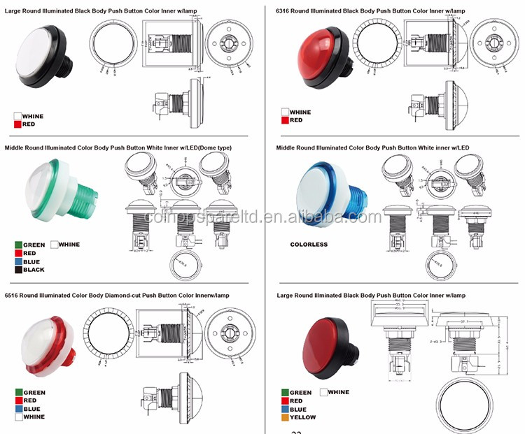 5A Red Large Switch Push Buttons