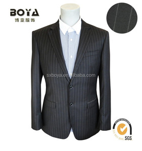 2015 100% wool business strip suit for man slim fit blazer/jacket
