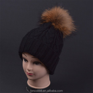 H93 Women Ladies Winter Fashion Crochet With Pom Ball Hand Knitted Beanie Realistic Faux Fur Animal Hats